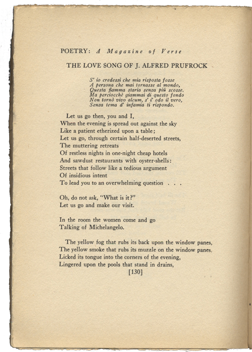 an analysis of the love song of j alfred prufrock by t s eliot Analysis of ts eliot  the poem, the love song of j alfred prufrock, by ts  eliot, is a great piece to analyze eliot uses many different techniques to get his.