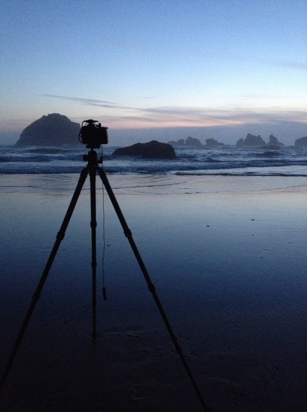 This is the setup for taking a photo at Bandon Beach, Oregon at Sunset