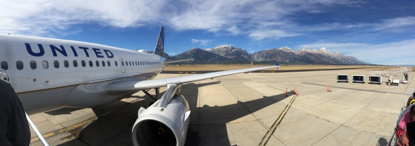 Boarding a plane in Jackson, Wyoming