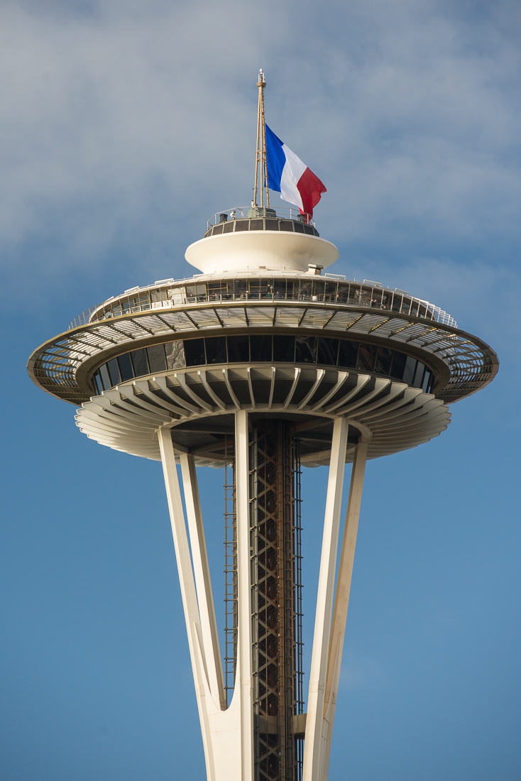 French flag over the Space Needle
